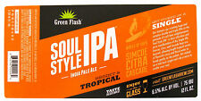 Green Flash Brewing SOUL STYLE IPA - INDIA PALE ALE beer label CA 12oz