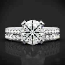 Bridal Offer 2.30 Ct Diamond Wedding Rings 14Kt Solid White Gold Band Sets