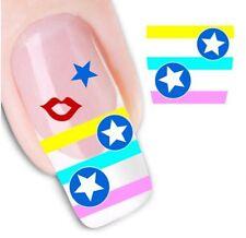 Nail Art Sticker Water Decals Transfer Stickers Stars Stripes Lips  (DX1257)