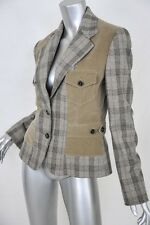 DOLCE & GABBANA Taupe+Brown Plaid+Corduroy/Cord 2-Button Blazer Jacket NEW 8/44