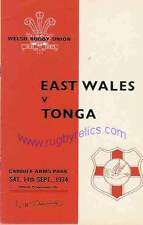 Tonga 1974 Rugby Tour Programa V East Wales 14th septiembre, Cardiff