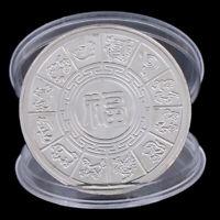 Jahr der Ratten Gedenkmünze Chinesische Tierkreis Andenken Münze VersilbeYT
