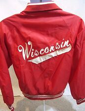 VTG Wisconsin Badgers Mens S Red Satin Button Jacket NCAA Madison USA Made