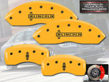 """2016-2018 """"Lincoln"""" MKX Front + Rear Yellow MGP Brake Disc Caliper Cover w/ Star"""