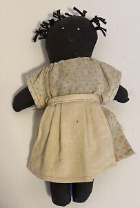 Folk Art Rag Doll Black Americana Vintage With Painted Face Dress Apron