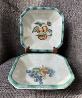 2 Himark Square Pasta or Serving Bowls Made in Italy Fruit Grapes & Peach?