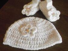 baby girls crochet handmade bennie hat plus shoes newborn