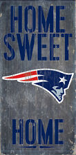"NEW ENGLAND PATRIOTS HOME SWEET HOME WOOD SIGN and ROPE 12"" X 6""  NFL MAN CAVE!"