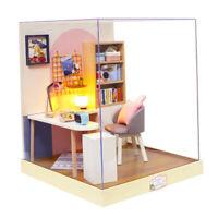 MagiDeal 1/24 DIY Dollhouse Miniature Kits Study Room w/ Dustproof Cover