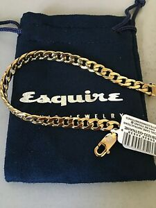 Esquire Men's Jewelry Esquire Men's Chain Bracelet in Gold-Tone Ion-Plated Stain