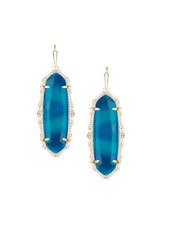 Kendra Scott Blue Agate Francie Drop Gold Earrings Rare