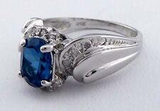 GENUINE 1.62 Cts BLUE ZIRCON & DIAMONDS 14k Gold Ring Msrp $1,475 *FREE SHIPPING