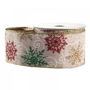Luxury Christmas Natural Glitter Snowflake Pattern Ribbon - 1m length