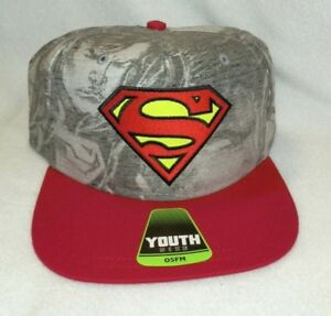 New Youth Superman Hat One Size Fits Most Baseball Cap Light Gray Red DC Comics