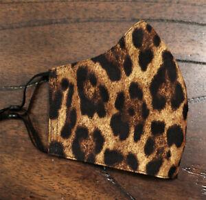 Women's Medium Reversible Fitted Face Mask Leopard Print/Black
