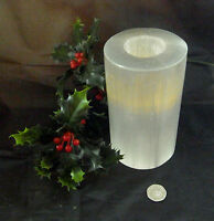 SELENITE WHITE CRYSTAL CANDLE POLISHED 8cm TEA LIGHT FOREVER HEALING CHRISTMAS
