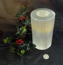 CHRISTMAS SELENITE CRYSTAL CANDLE 14cm BEAUTIFUL LARGE TEA LIGHT 1358g