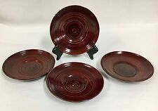 4 Vintage Japanese Lacquer Round Wooden Dishes