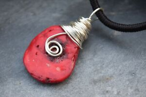 * Handmade*  Silver Wire Red Coral Gemstone Crystal Adjustable Necklace * Gift *