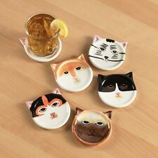 "Set Of 6 Ceramic Cat Coasters New in Box Collectible Gift Last Set! 4"" Diameter"