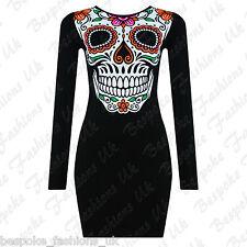 Ladies Women's Halloween Themed Scary Skull Bone Bodycon Dress Plus Size 8-26