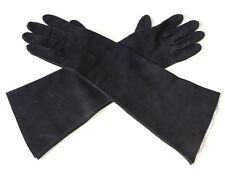 7 1/4  lang Vintage Lederhandschuhe Handschuhe Leder butterweich schwarz gloves