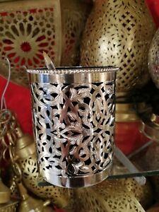 Moroccan pen holder vintage desk decoration Handmade brass silver Fez Marrakesh