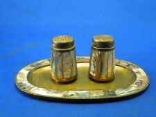 Vintage Mother of Pearl Salt & Pepper Shaker Set with Tray