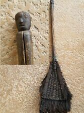 A Philippine Ilongot Luzon Ritual feathered fan carved head handle 32 inches