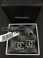 New NIB CHANEL Large CC Logo RARE Pearls Gunmetal Black Dangle Pierced Earrings