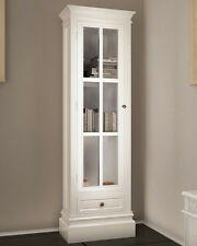 French Display Unit Tall White Bookcase Vintage Storage Furniture Glass Cabinet