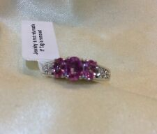 1.25 Ct, Natural, Pink Sapphire Ring, Trilogy, Rhodium Plated Sterling Silver, K