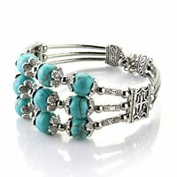 "Tibet Silver 3 Row Turquoise Bead Bracelet Bangle 0.39"" HOT G1Y9"