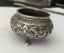 More details for antique vintage indian white metal silver footed salt mustard pot condiment - in