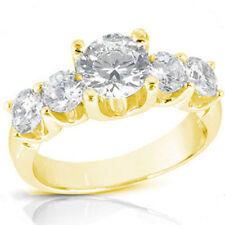 2.62 carat, 5 Round Diamond Engagement Wedding Band 18K Yellow Gold Ring SI1