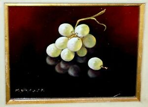 Vintage US Framed Oil Still Life Painting Green Grapes by A. Hansen (FeO)