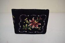 VINTAGE/Antique Black Floral Handmade Needlepoint Wallet w Kiss Lock Coin Purse