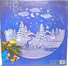 Holiday Christmas Party Snow Frosted Glass Cake Plate Platter 15 in Studio Nova