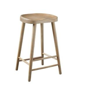 Shaker Bar Stool Farmhouse Style in Hand-Crafted Ash 66 cm with Sculptured Seat