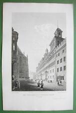 GERMANY Nuremberg Town Hall & Sebalder Kirche - 1823 Antique Print by Cpt Batty