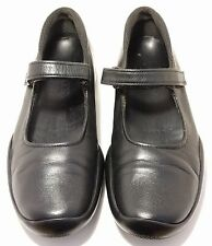PRADA Women's Mary Jane Black Leather Ankle Straps Flat Ballet Italy Shoes 6.5M