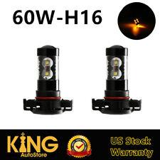 2x Yellow Amber LED H16 2504 5202 Fog Lights Daytime Running Lamps Parking Bulbs