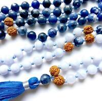 Sodalite gemstone 8MM 108 Mala Necklace Prayer beads yoga tassel Bracelet