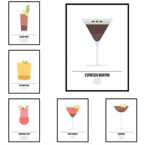 Cocktail Poster Framed Mixoligy Recipies Kitchen Print Alcohol Drinks Wall Art