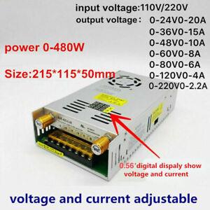 Power 480W Supply Adjustable Current limit 12V 24V 36V 48V 60V 80V 120V