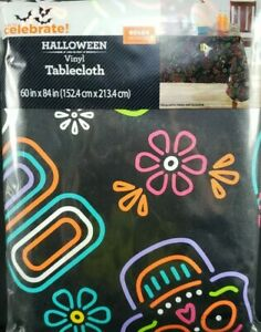 "Halloween Day of the Dead Sugar Skulls Black Vinyl Tablecloth 60""x84"" Rectangle"