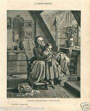 Tableau Grandmother Knitting Crochet Girl Meyerheim Peintre GRAVURE  PRINT 1858