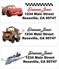 60 Cars Printed Return Address Labels - Lightning Mcqueen, Tow Mater, Planes