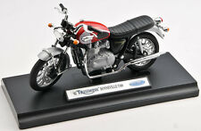 BLITZ VERSAND Triumph Bonneville T 100 rot-silber Welly Motorrad Modell 1:18 NEU