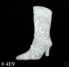 1PC ~WHITE FUR BOOT~IRON ON EMBROIDERED PATCH